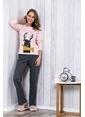 Lingabooms Geyik Baskılı Kadın 2'li Pijama Takım  Pembe